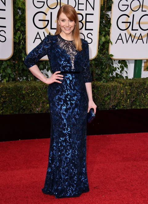 """**Bryce Dallas Howard**<br><br>  The *Jurassic World* star revealed that she had to buy her own gown for the 2016 Golden Globes as there weren't enough designers who could lend her one in her size. <br><br> """"I like having lots of options for a size 6 [a UK size 10] as opposed to maybe one option so I always go to department stores,"""" the actress told *E!*. She bought her metallic blue Jenny Packham gown from US department store Neiman Marcus."""
