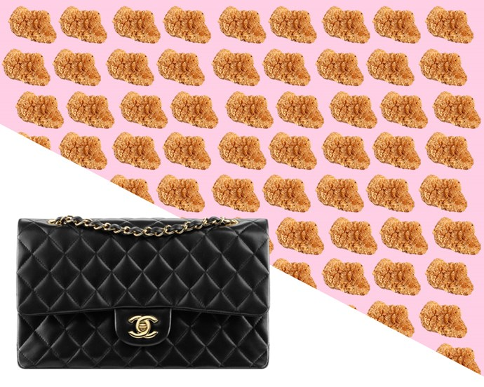 Chanel Classic Handbag in Black Lambskin, $6,800 from [Chanel](http://www.chanel.com/en_AU/fashion/products/handbags/g/s.classic-handbag-lambskin-black.0V.A01112Y0129594305.sto.ico.html)... <br> <br> ...*Or* 15,111 Chicken McNuggets.