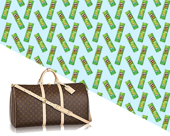 Louis Vuitton Keepall Bandourliére 60, $2,350 from [Louis Vuitton](http://au.louisvuitton.com/eng-au/products/keepall-bandouliere-60-monogram-000702)... <br> <br> …*Or* 587 tubes of Sour Cream and Onion Pringles.