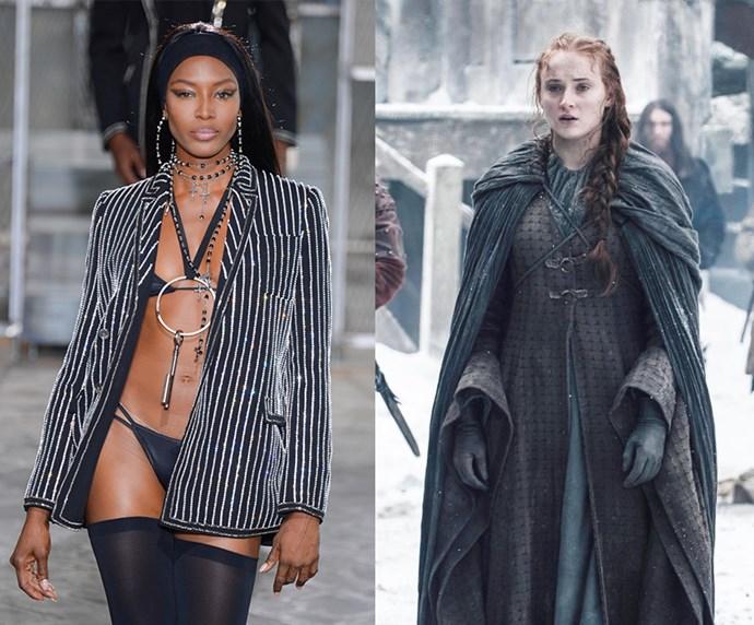 "Naomi Campbell = 1.75m, 5'7"" / Sansa Stark = 1.75m, 5'7"""