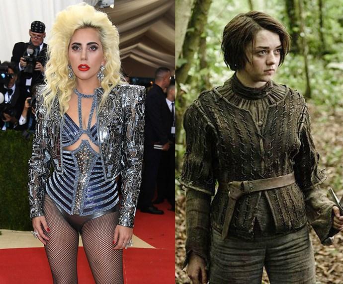 "Lady Gaga = 1.55m, 5'2"" / Ayra Stark = 1.55m, 5'2"""