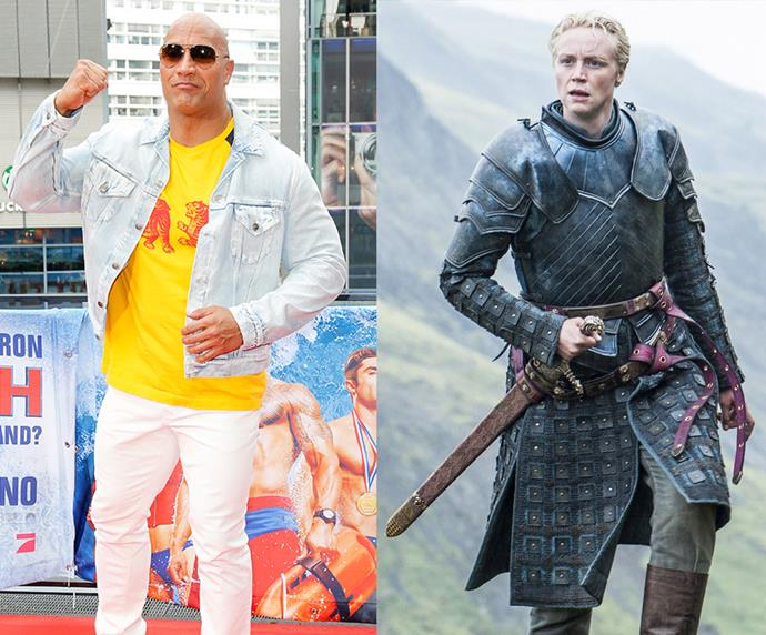 "Dwayne 'The Rock' Johnson = 1.96m, 6'5"" / Brienne of Tarth = 1.91m, 6'5"""