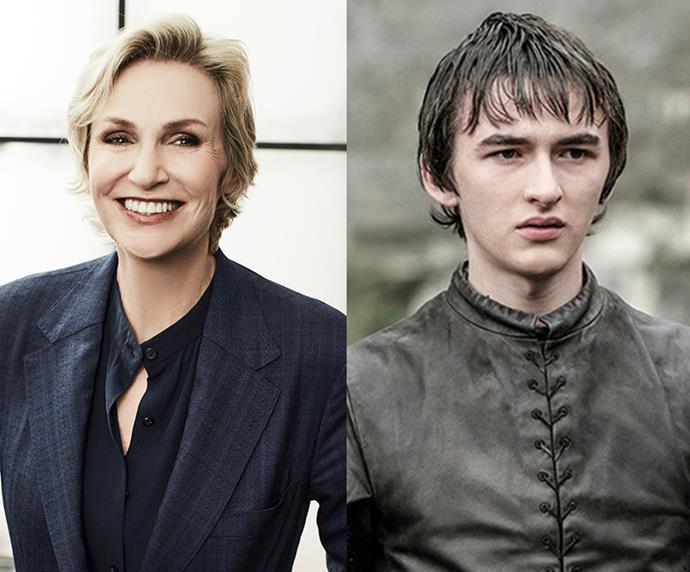 "Jane Lynch = 1.83m, 6'0"" / Bran Stark = 1.8m, 6'0"""
