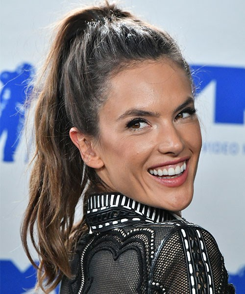 **Who:** Alessandra Ambrosio <br><br> **Why we love the look:** Not only is a high pony one of the easiest hairstyles under the sun, it's also stylish AF. (As demonstrated here by  Alessandra Ambrosio.)