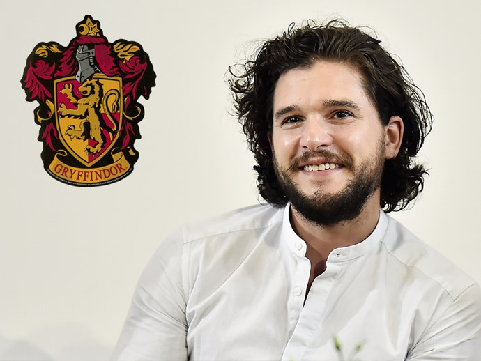 "**Kit Harington:** When asked whether he had any secret passions, Kit declared that he was a massive fan of *Harry Potter*. As for his house of choice, [Kit said](https://www.thecut.com/2017/09/kit-harington-d-and-g-the-one-interview-on-jon-snow-man-bun.html), ""Gryffindor, obviously. No one wants to be Hufflepuff, Ravenclaw is boring, Slytherin is full of psychos, as people know."" Clearly he does know something, that Jon Snow."