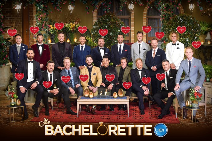 And here they are altogether! The 18 men competing for Sophie Monk on *The Bachelorette Australia*.