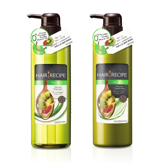 "Inspired by superfoods, this brand-new lightweight volumising duo smells like kiwi and fig. It's created using NutriBlend Technology, which means each ingredient is added at exactly the right time, in exactly the right way, in exactly the right order. Consider it your perfect summer cocktail, that also makes you look amazing. More good news: the products are free from ""nasties"" such as silicones (shampoo only), parabens, mineral oil and gluten, too. <br><br>[Hair Recipe Kiwi & Fig Volume Shampoo and Treatment, $19.99 each, available at Priceline](https://www.priceline.com.au/brand/hair-recipe/)"