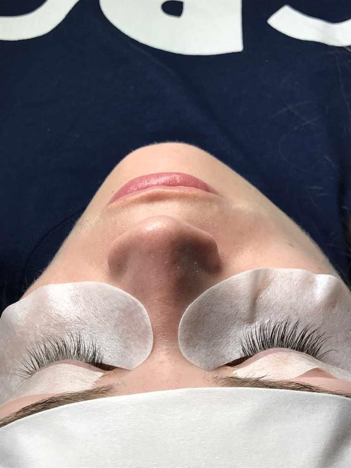 Mid -way through my eyelash extensions.