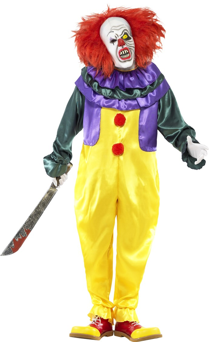 Pennywise The Clown Costume, $133 at [Costume Box](https://www.costumebox.com.au/classic-horror-clown-mens-costume.html)