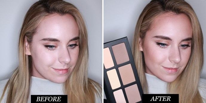 **Kat Von D Shade & Light Face Contour Palette<br> Best contour kit for a perfect finish** <br><br> I love Kat Von D's contouring palette, the range of lighter and darker colours made it easy to blend my contour so that it gradually faded from light-to-dark. Often, when I use a single shade it can look a little stripy. *(Does that make any sense?)*  The yellow tone comes in handy for neutralising redness, while the apricot one works a treat for brightening. All of the powders are all incredibly finely-milled, meaning they apply seamlessly, and can be built up without looking cakey. The downside? I wish there was a shimmer shade for highlighting.  <br><br> **Rating: 9/10**