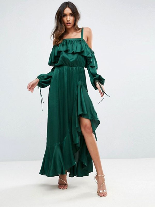 Dress, $149 at [ASOS](http://www.asos.com/au/asos/asos-cold-shoulder-ruffle-maxi-dress/prd/8159774?clr=green&SearchQuery=&cid=8799&pgesize=204&pge=0&totalstyles=3263&gridsize=3&gridrow=19&gridcolumn=3)