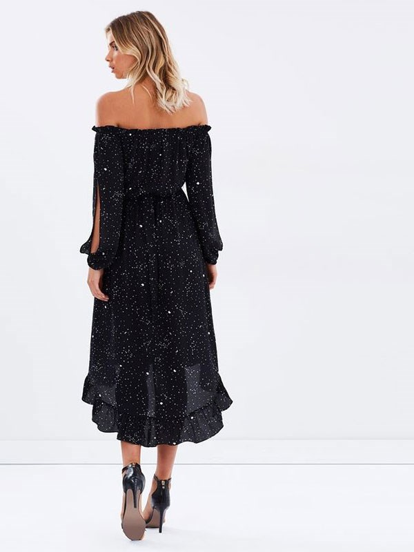 Dress, $60, Atmos + Here at [The Iconic](https://www.theiconic.com.au/rising-sign-off-the-shoulder-dress-471269.html)