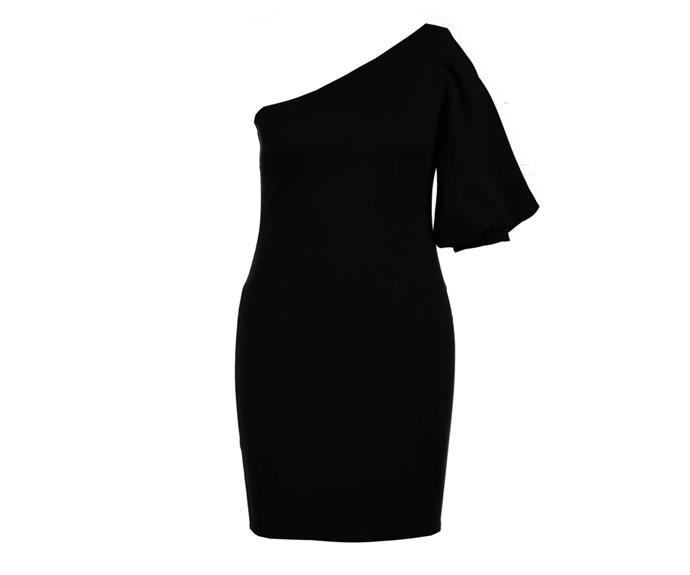 "Dress, $44, Sizes 16-24, [Boohoo](http://au.boohoo.com/plus-emma-puff-sleeve-one-shoulder-midi-dress/PZZ86341.html?color=105|target=""_blank""