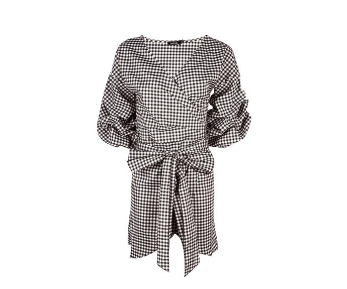 "Dress, $44, [Boohoo](http://au.boohoo.com/debbie-gingham-volumised-rouched-shirt-wrap-dress/DZZ44916.html|target=""_blank""