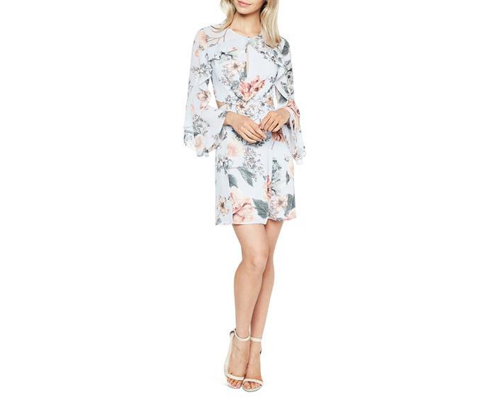 "Dress, $129.99 , Bardot at [Myer](https://www.myer.com.au/shop/mystore/dresses/floral-frill-dress-518514400|target=""_blank""|rel=""nofollow"")"