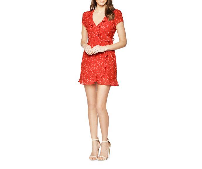 Dress, $99.95, Bardot, [Myer](https://www.myer.com.au/shop/mystore/miss-shop/featured-brands-bardot/backless-spot-dress-539118730)