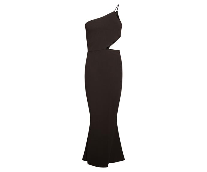 "Dress, $63.95, [Missguided](https://www.missguidedau.com/black-cut-out-waist-one-shoulder-maxi-dress-10054339|target=""_blank""|rel=""nofollow"")"