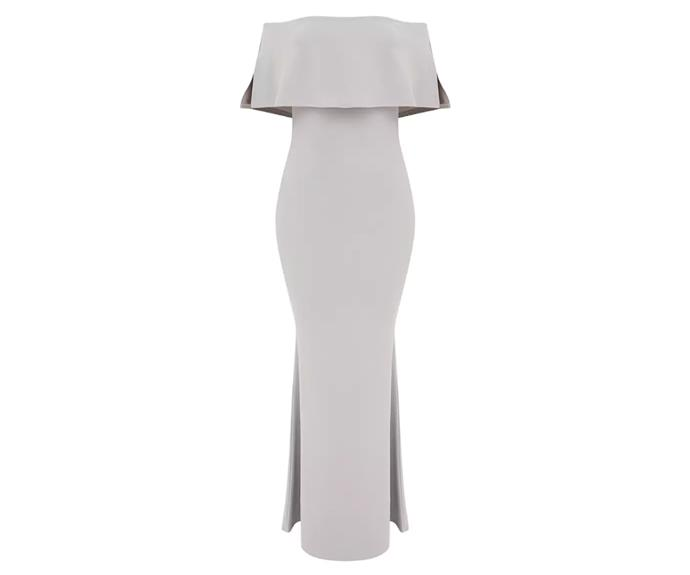 "Dress, $55, [Pretty Little Thing](https://www.prettylittlething.com.au/dove-grey-bardot-frill-fishtail-maxi-dress.html|target=""_blank""