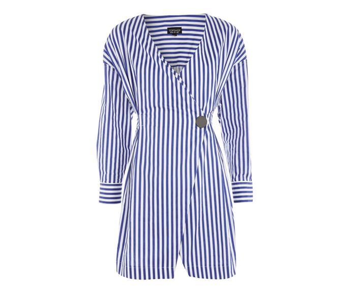 "Dress, $60.10, [Topshop](http://www.topshop.com/en/tsuk/product/new-in-this-week-2169932/new-in-dresses-4938909/stripe-displaced-wrap-dress-6962292?bi=0&ps=20|target=""_blank""