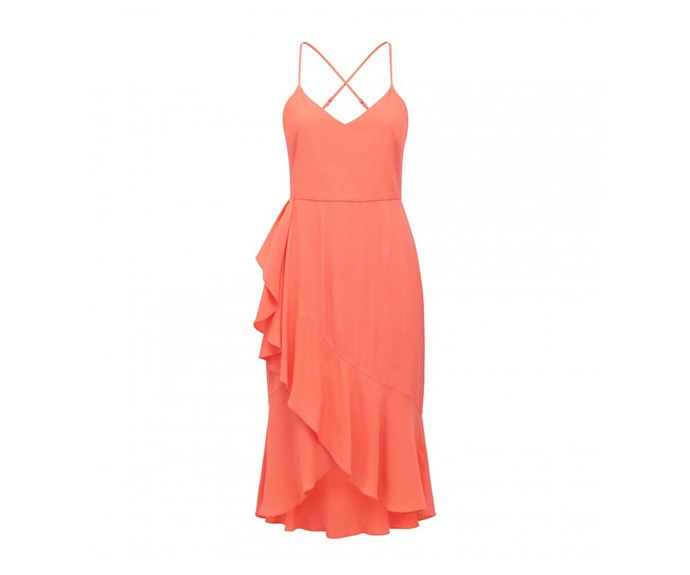 "Dress, $99.99, [Forever New](https://www.forevernew.com.au/poppy-day-dress-24590701?colour=coral|target=""_blank""