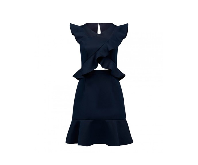 "Dress, $149.99, [Forever New](https://www.forevernew.com.au/cody-ruffle-cross-front-dress-24924201?colour=sky+captain|target=""_blank""