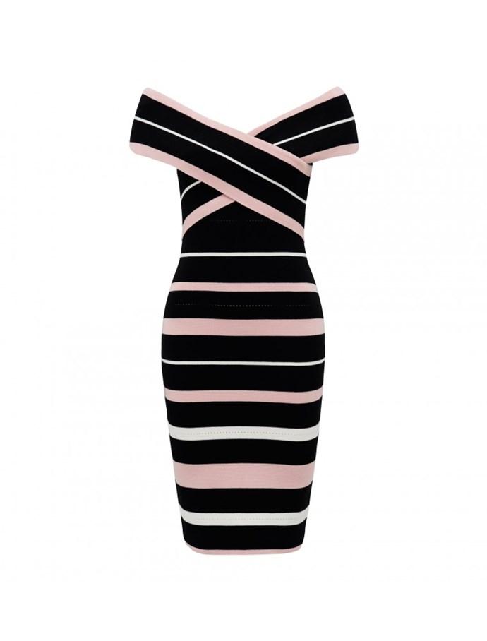 "Dress, $109.99, [Forever New](https://www.forevernew.com.au/kathy-stripe-bardot-dress-24918901?colour=stripe|target=""_blank""|rel=""nofollow"")"