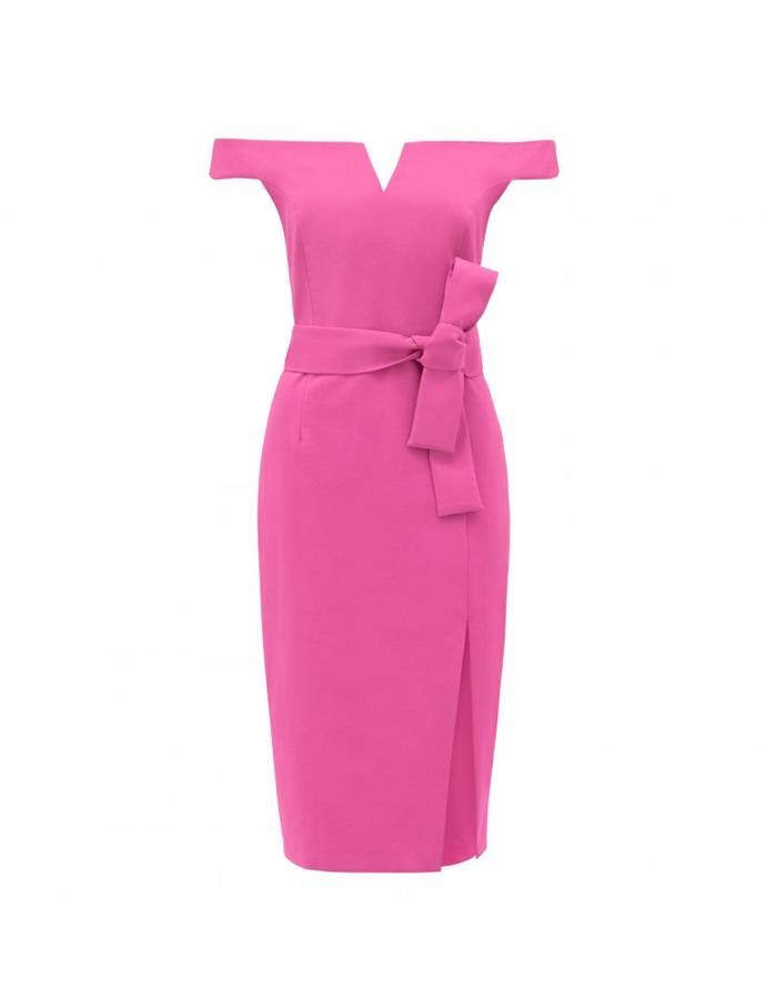 "Dress, $149.99, [Forever New](https://www.forevernew.com.au/sara-bardot-mini-dress-24478402?colour=fuschia|target=""_blank""|rel=""nofollow"")"