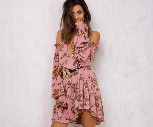 "Dress, $70, [Princess Polly](https://www.princesspolly.com/print/wanderer-long-sleeve-mini-dress|target=""_blank""|rel=""nofollow"")"