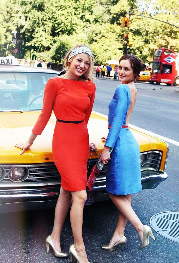 Team brightly coloured dresses with neutral or monochrome accessories.