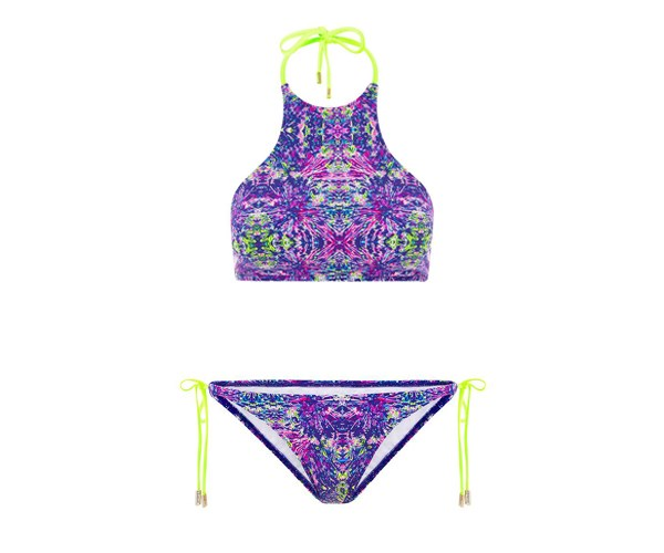 """Everyone needs at least one apron-neck bikini in their cozzie wardrobe. It's the comfiest style to catch a wave in! Plus it doubles as a cute top. Hyper Paradise High Neck Bikini, $53.90 and Hyper Paradise Tie Side Bottom, $43.90 at [Heaven Swimwear](heavenswimwear.com.au