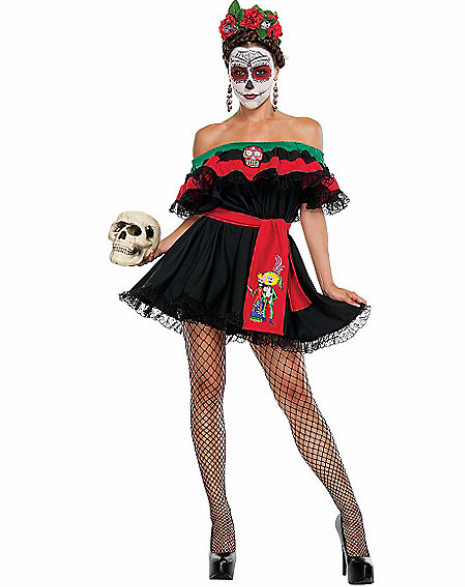 """**""""[Adult Senorita Death Costume](http://www.spirithalloween.com/product/adult/shop-by-character-adult/skeletons-day-of-the-dead/adult-senorita-death-costume/pc/682/c/796/sc/1557/27466.uts?thumbnailIndex=23)""""**<br><br> Even though 'Sugar Skulls' and skeleton makeup might be cute, the Day of the Dead — celebrated in Mexico, and in regions with large Hispanic populations between October 31 and November 2 — is a holiday in which people honour their dead loved ones, so the 'sexy senorita' costume is not advised."""