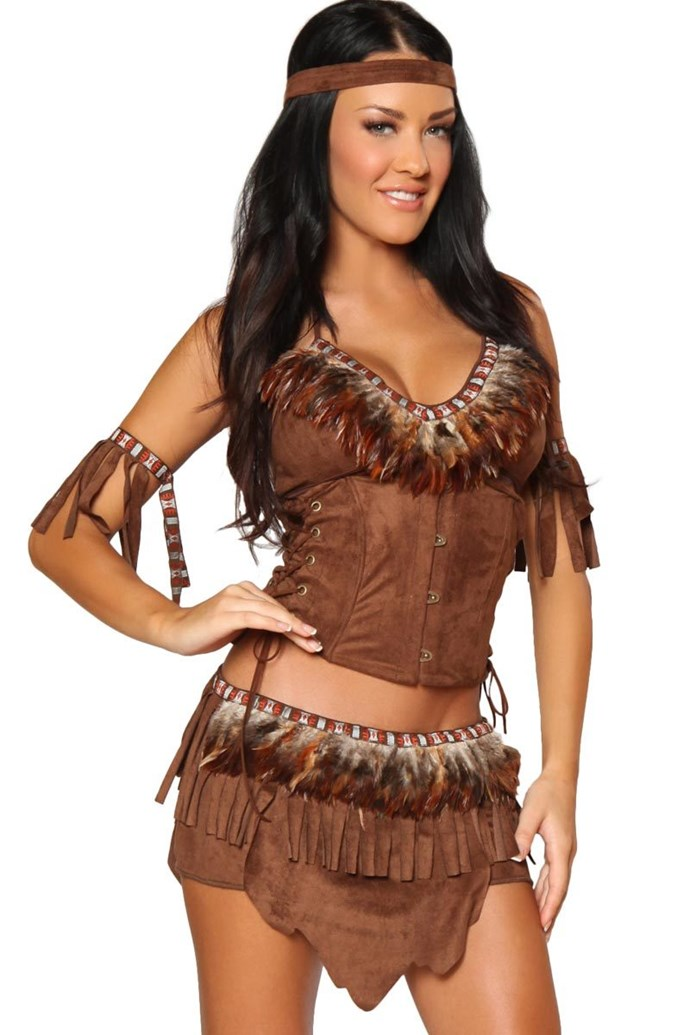 """**""""[Light Feather Indian Costume](https://www.3wishes.com/sexy-costumes/cowgirl-indian-costumes/light-feather/)""""**<br><br> Given the history behind the lives of Native Americans (not 'Indians,' come on) in the U.S., let's just go ahead and veto all of the above."""
