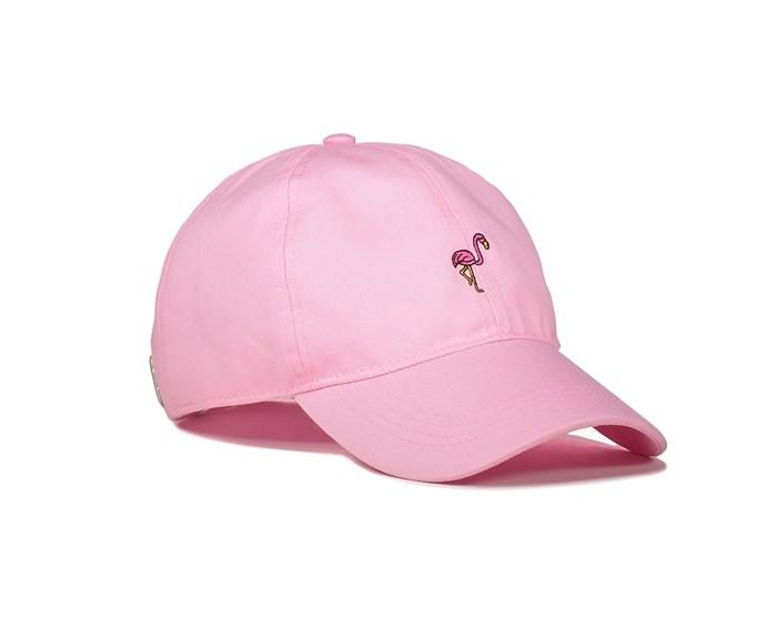 "Pink Flamingo It Cap, $12, at [Supré](http://www.supre.com.au/p/pink-flamingo-it-cap/9351785017112.html?region=AU#region=AU&start=1|target=""_blank""|rel=""nofollow"")"