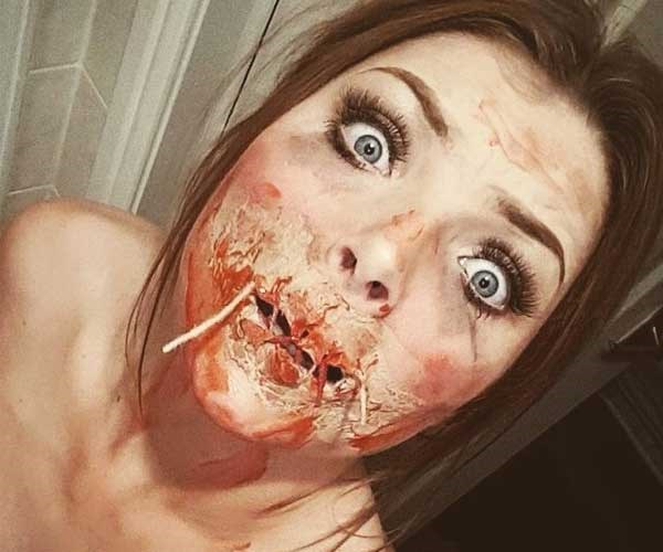 This woman put on a full-face of Halloween makeup and scared the sh!t out of her boyfriend