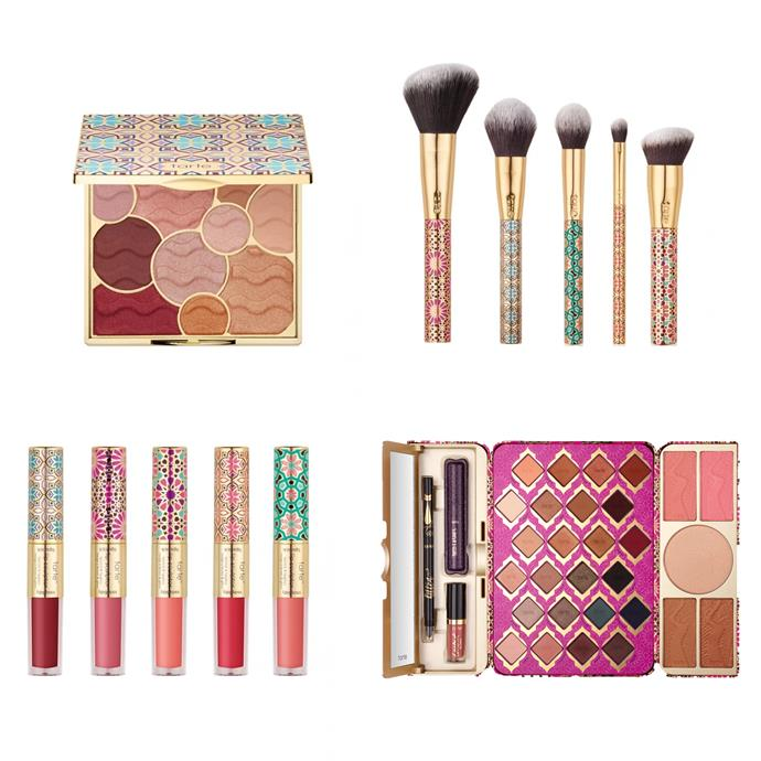 """**Tarte** Have released quite the extensive holiday collection this year including brushes, shadow palettes, lip colours and glitter liners, each packaged in colourful Moroccan-inspired prints. This collection is already available to shop on [Tarte's](https://tartecosmetics.com/en_AU/collections/holiday-2017/