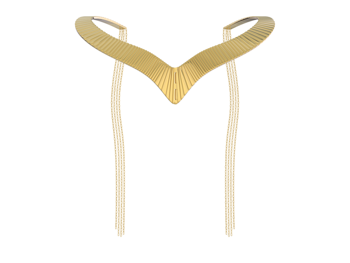 This Egyptian inspired cuff necklace has some classy gold chains details, which, when you fold the necklace in half, can be used as a BDSM gold-plated whip. **Magnifique Whip Necklace, $132 from [Unbound](https://unboundbox.com/products/cleo-whip-necklace)**.