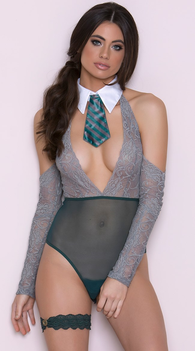 "**Slytherin**  Harry Potter set, $50 (approx.) at [Yandy](http://www.yandy.com/Yandy-Cunning-Magical-Student-Fantasy-Lingerie-Costume.php|target=""_blank""