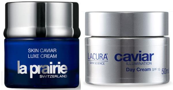 On the left is La Prairie Skin Caviar Luxe Cream, and on the right is Aldi Lacura Caviar Illuminating Day Cream.