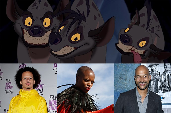 Azizi, Shenzi and Kamari will be played by Eric André, Florence Kasumba and Keegan-Michael Key. (In the animation, Azizi and Kamari are named Banzai and Ed, so there must be some character-changing happening.)