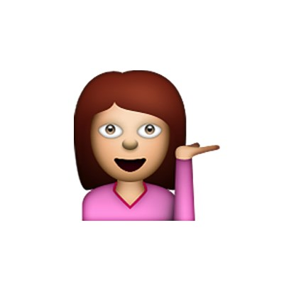 Look, this girl is meant to represent 'information desk' in emoji-speak, but to us it means 'whatever'.