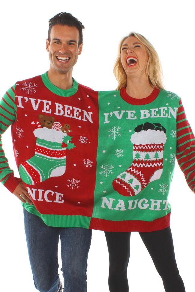 """Force your poor, poor partner or pal into literally being stitched to your side with this naughty vs. nice jumper.  <br><br> ***Naughty And Nice Two-Person Sweater, $65 from [Tipsy Elves](https://www.tipsyelves.com/two-person-sweater