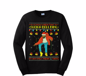 """Name a more iconic awkward dance than Drake in """"Hotline Bling"""". Go on. We'll wait. Celebrate the awkwardness with this inspired jumper. <br><br> ***Drake Ugly Christmas Sweater, $18.95 from [ebay](https://www.ebay.com/itm/Drake-Ugly-Christmas-sweater-style-LongSleeve-hotlinebling-Christmas-funny-shirt-/152763318699