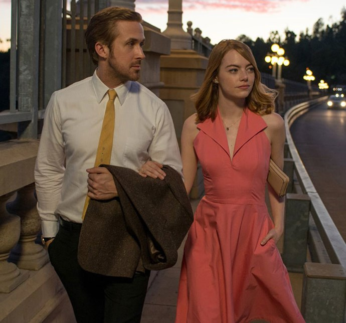 ***La La Land***: The salmon A-line gown Mia wore on her date with Sebastian.