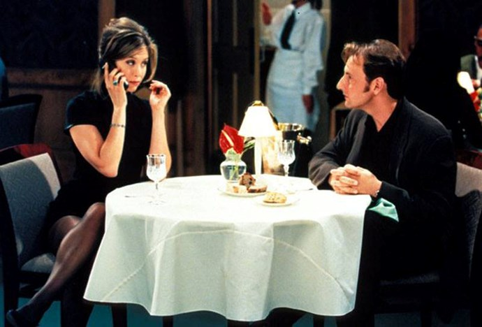 ***Friends:*** The LBD Rachel Green wore on the date with a random guy when she borrowed someone else's phone to tell Ross she was 'sooo over him'.