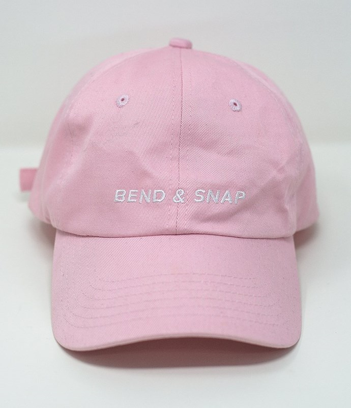 """Bend & Snap Cap, $37 at [WhoHaha](https://shop.whohaha.com/products/bend-and-snap-cap-by-legally-blonde
