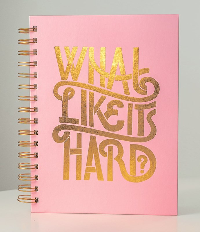 """What? Like It's Hard Notebook, $21 at [WhoHaha](https://shop.whohaha.com/products/what-like-its-hard-spiral-notebook