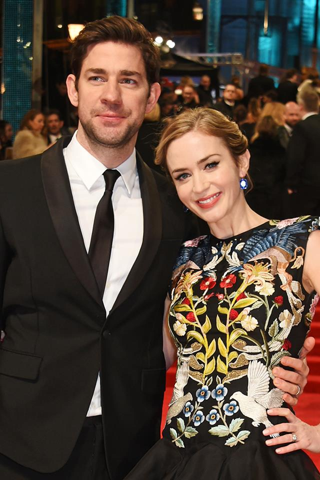 "**Emily Blunt and John Krasinski** <br><br> Emily and John, one of Hollywood's most adorable couples, did not go on a typical first date. Unexpectedly, John decided to take Emily to a shooting range. ""On our first date, I decided, 'I'm gonna really hit the gas and bring her to a gun range,'"" [John told Conan O'Brien](https://www.youtube.com/watch?v=fl6XZ6-vmE0