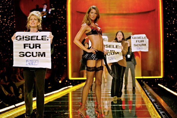 **2002: Gisele Bündchen**  Gisele was famously targeted by PETA supporters on the 2002 Victoria's Secret runway after signing with famous mink fur company Blackglama and, while the outfit she wore didn't contain any fur, the show itself has used fur, feathers and leather throughout the years.