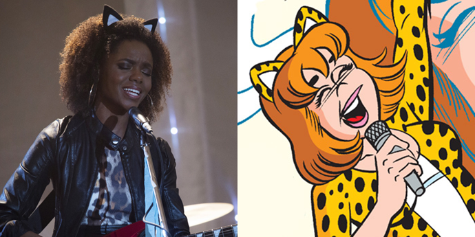 **Josie McCoy**  I appreciate the fact that *Riverdale* Josie and her bandmates incorporate the whole Pussycat thing into their wardrobes in a much subtler fashion than the comic versions did.