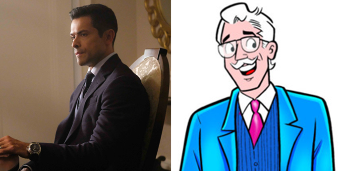 **Hiram Lodge**  Comics Hiram looks a lot less ready to blackmail his wide into lying to their daughter, but who knows? Maybe there's a stone-cold liar lurking behind that jaunty mustache.